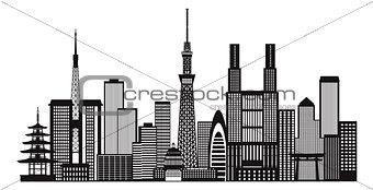 Tokyo City Skyline Black and White Illustration