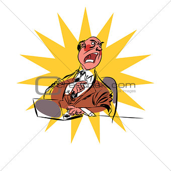 Angry boss business businessman laptop