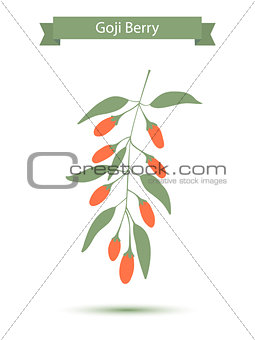 Goji berries on a branch. Vector illustration. Silhouette
