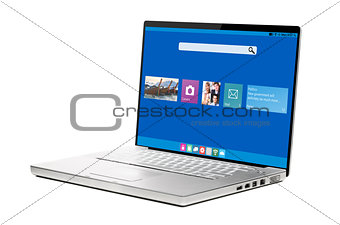 modern laptop with ui