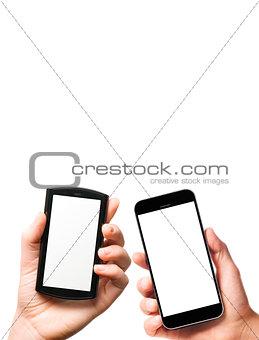 modern smartphones in hands