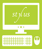 Vector illustration of web development stylus technology. isolated white icon