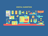 Digital marketing design flat