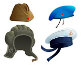 Set Military Army headdress. Russian military garrison cap. Modern Military hat