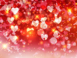 Heart blurred lights on colorfull background, Hearts texture bac