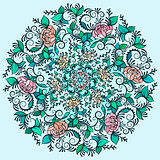 Vector Beautiful Deco Colored contour Mandala, Patterned Design Element, Ethnic Amulet