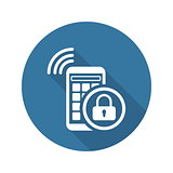 Mobile Security Icon. Flat Design.