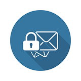 Secure Mail Icon. Flat Design.