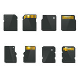 Set memory card, vector illustration.