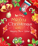 Greeting card with Christmas and New Year with the image of Christmas items
