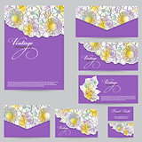 Set design for business cards, envelopes, postcards. floral