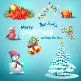 A set of Christmas items, Christmas tree, lanterns, candy, toys