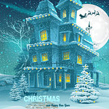 Christmas and New Year greeting card with the image of a winter