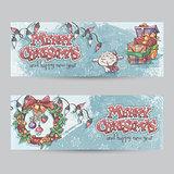 Set of horizontal Christmas banners with the image of a lamb, gi