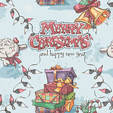 Seamless texture of New Year and Christmas with the lamb, gifts,