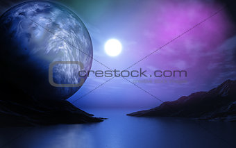 3D landscape with planet over lake