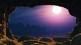 3D view from a cave looking out to a sunset sea with palm tree i