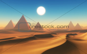 3D desert scene with pyramids