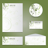 Business stationery layout with floral design