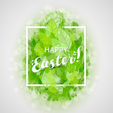 Beautiful card Easter egg with green leaves