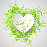 White heart frame with text hello spring