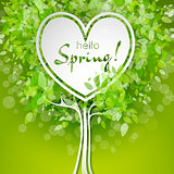 Vector heart shaped tree with green leaves