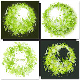 Set of Spring backgrounds with green leaves