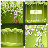 Set of Spring green backgrounds with trees, leaves and flowers