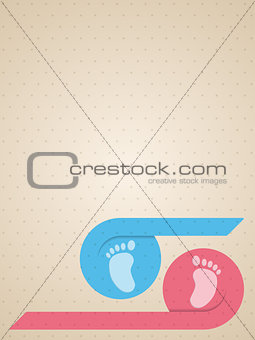 Blue pink ribbon with baby feet greeting card