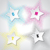 Abstract cmyk background with 3d stars