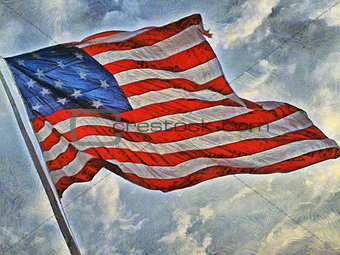Painted image of the American flag