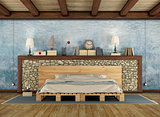 Rustic bedroom with pallet double bed