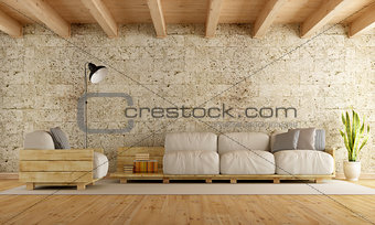 Modern living room wth pallet sofa