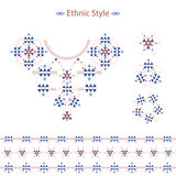 Ethnic Colorful pattern set isolated on white in vector format. . Vector flat tribal  print.