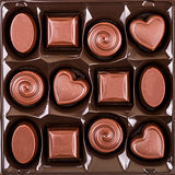 assorted chocolate candy box, top view