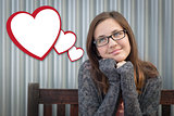 Daydreaming Girl With Blank Floating Hearts - Clipping Path