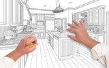 Male Hands Sketching Beautiful Custom Kitchen