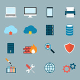 Computer Service and Maintain Icons Flat