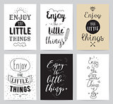 Inspirational cards 6 set. Typographical design. Lettering concept.