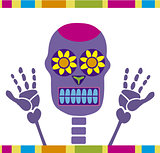 colorful skull dia de muertos