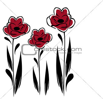 three red flowers