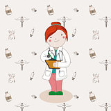 Illustration of doctor in a white coat