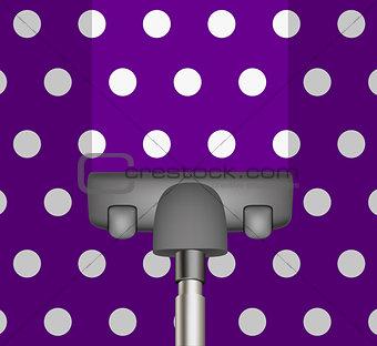 Vacuum cleaner drains purple carpet