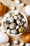 Food easter background with different eggs