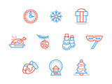 New Year party blue and red line vector icons set