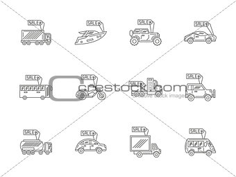 Car rent and sale flat line vector icons set
