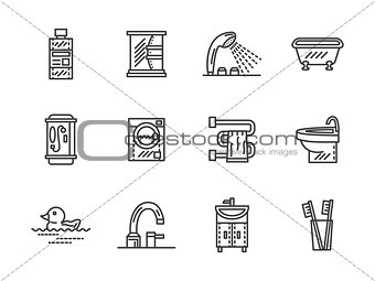 Bathroom black line vector icons