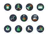 Round flat color winter holidays vector icons set