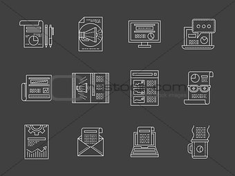 Advertising articles white line vector icons set