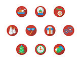 Round red Christmas and New Year vector icons set